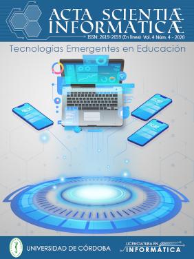 """Portada de la revista Acta scientiae informaticae, volumen 4, número 4, año 2020 """"Tecnologías emergentes en educación"""""""